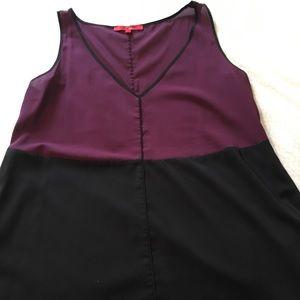 Black and burgundy sheer top
